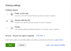 google doc share settings